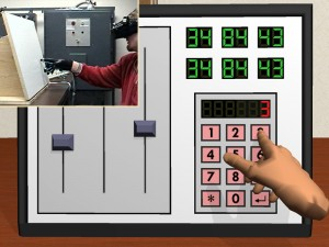Virtual Control Panel with physical prop and force glove