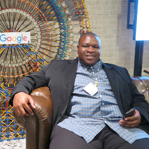 Sam Ekong relaxing before a demo at Google